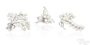 Three sterling silver cultured pearl pins