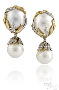 Pair of 14K white and yellow gold pearl earrings