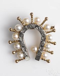 14K two-tone gold pearl horseshoe brooch