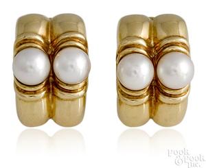 Pair of 18K yellow gold Bulgari pearl earrings