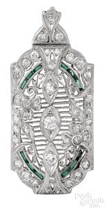 Platinum Art Deco diamond emerald brooch pendant