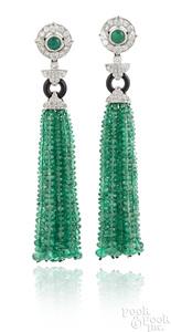 18K gold diamond, emerald and onyx tassel earrings