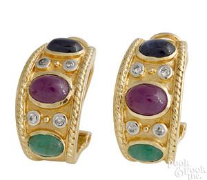 Pair of 14K yellow gold Bulgari style earrings