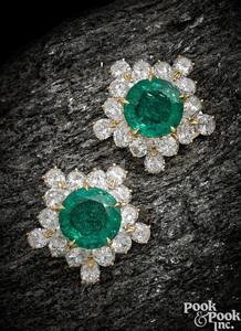 Pair of 18K gold Bulgari emerald diamond earrings