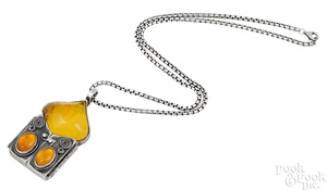 Sterling silver amber triptych pendant