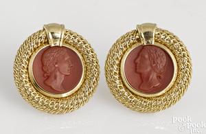 Pair of 14K yellow gold carnelian earrings