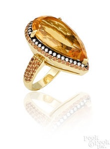18K yellow gold Norman Covan citrine sapphire ring