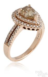 14K rose gold fancy brown diamond ring