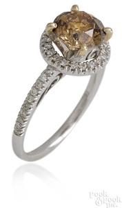 18K white gold fancy orange-brown diamond ring