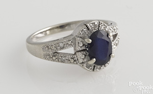 Two 14K white gold sapphire and diamond rings