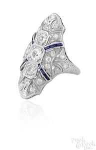 Art Deco platinum diamond and sapphire ring