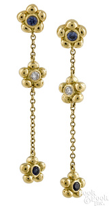 Pair of 18K gold sapphire and diamond earrings