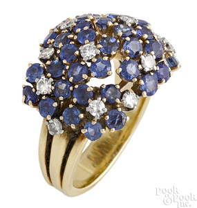 18K yellow gold sapphire and diamond dome ring