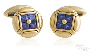 Pair of 18K yellow gold Bulgari sapphire cufflinks