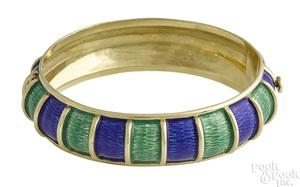 18K yellow gold Cellini enamel bangle bracelet