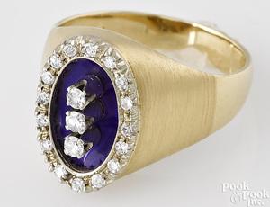 18K yellow gold diamond ring with blue enamel