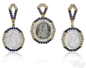 18K gold sapphire, diamond and rock crystal set