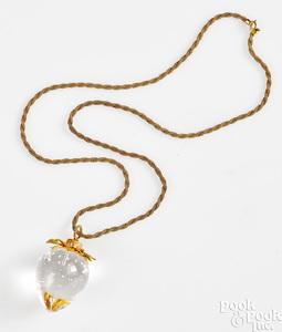 18K yellow gold Steuben glass strawberry pendant
