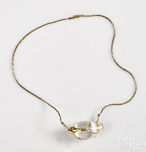 18K yellow gold Steuben glass rosebud pendant