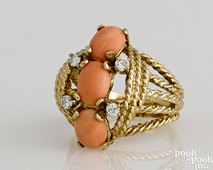 14K yellow gold diamond and angel skin coral ring