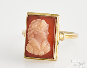 14K gold carnelian cameo ring