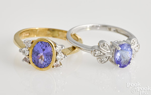 Two tanzanite rings