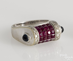 18K white gold ruby, diamond and sapphire ring