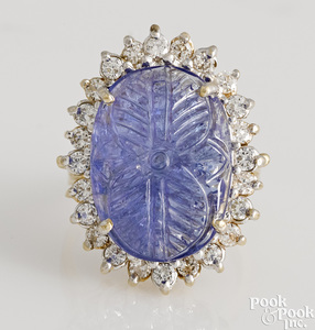 14K yellow gold carved sapphire and diamond ring