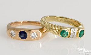 Two 14K gold gemstone rings