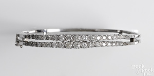 14K white gold diamond bangle bracelet