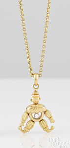 18K yellow gold Chopard clown pendant necklace
