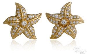 Pair of 14K yellow gold diamond starfish earrings