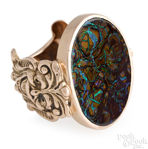 14K rose gold boulder opal ring