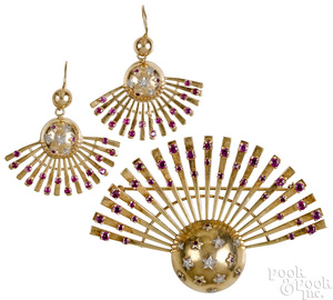 15K yellow gold diamond and ruby starburst set