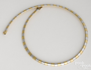 14K yellow and white gold Omega necklace