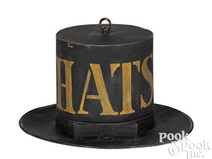 Contemporary painted tin hat trade sign