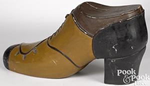 Figural wood shoe trade sign