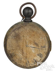 Painted wood pocket watch trade sign