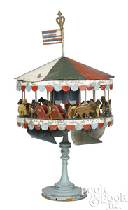 Tin and wood carousel wind driven toy