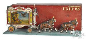 Folk art horse drawn circus ticket wagon