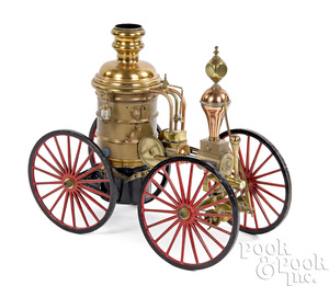Brass and copper fire pumper model