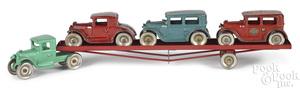 Arcade cast iron tractor trailer car hauler