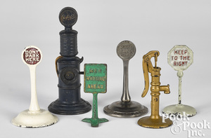 Group of cast iron road signs