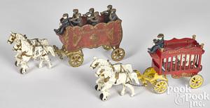 Two Kenton cast iron Overland Circus wagons
