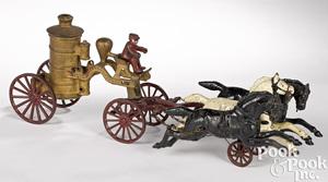 Hubley cast iron horse drawn fire pumper