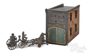 Ives cast iron clockwork fire engine house