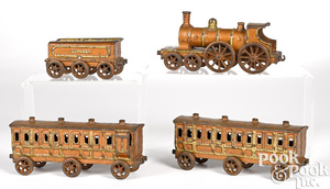 H. Wallworks cast iron four-piece floor train