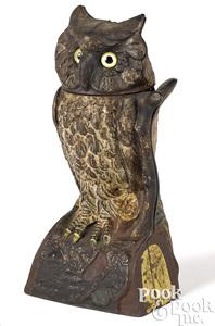 J. & E. Stevens owl turns head mechanical bank