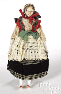 Peg wooden doll in German costume