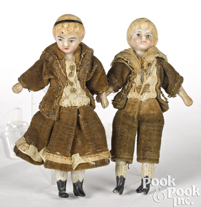 Two miniature bisque dollhouse twin dolls